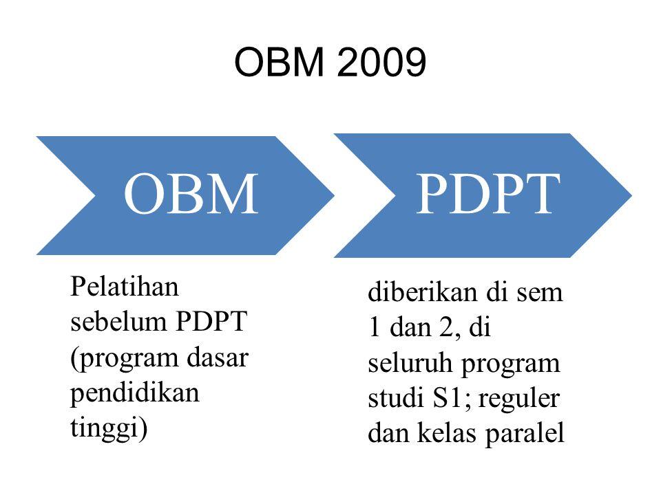 OBM 2009 OBM Pelatihan sebelum PDPT (program dasar pendidikan tinggi) PDPT diberikan di sem 1 dan 2, di seluruh program studi S1; reguler dan kelas pa