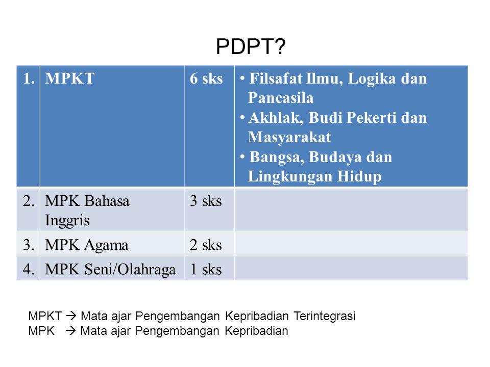 PDPT? 1.MPKT6 sks Filsafat Ilmu, Logika dan Pancasila Akhlak, Budi Pekerti dan Masyarakat Bangsa, Budaya dan Lingkungan Hidup 2.MPK Bahasa Inggris 3 s