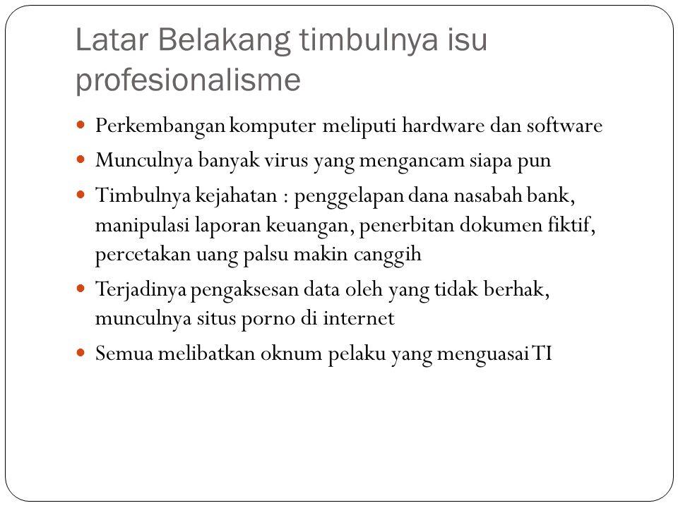 Latar Belakang timbulnya isu profesionalisme Perkembangan komputer meliputi hardware dan software Munculnya banyak virus yang mengancam siapa pun Timb