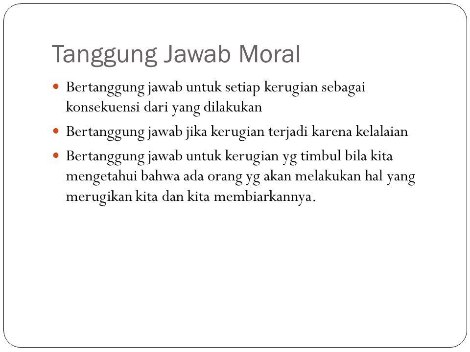 Tanggung Jawab Moral Bertanggung jawab untuk setiap kerugian sebagai konsekuensi dari yang dilakukan Bertanggung jawab jika kerugian terjadi karena ke