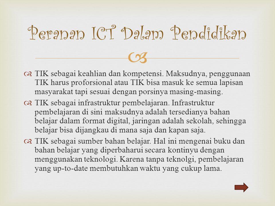   TIK sebagai keahlian dan kompetensi. Maksudnya, penggunaan TIK harus proforsional atau TIK bisa masuk ke semua lapisan masyarakat tapi sesuai deng