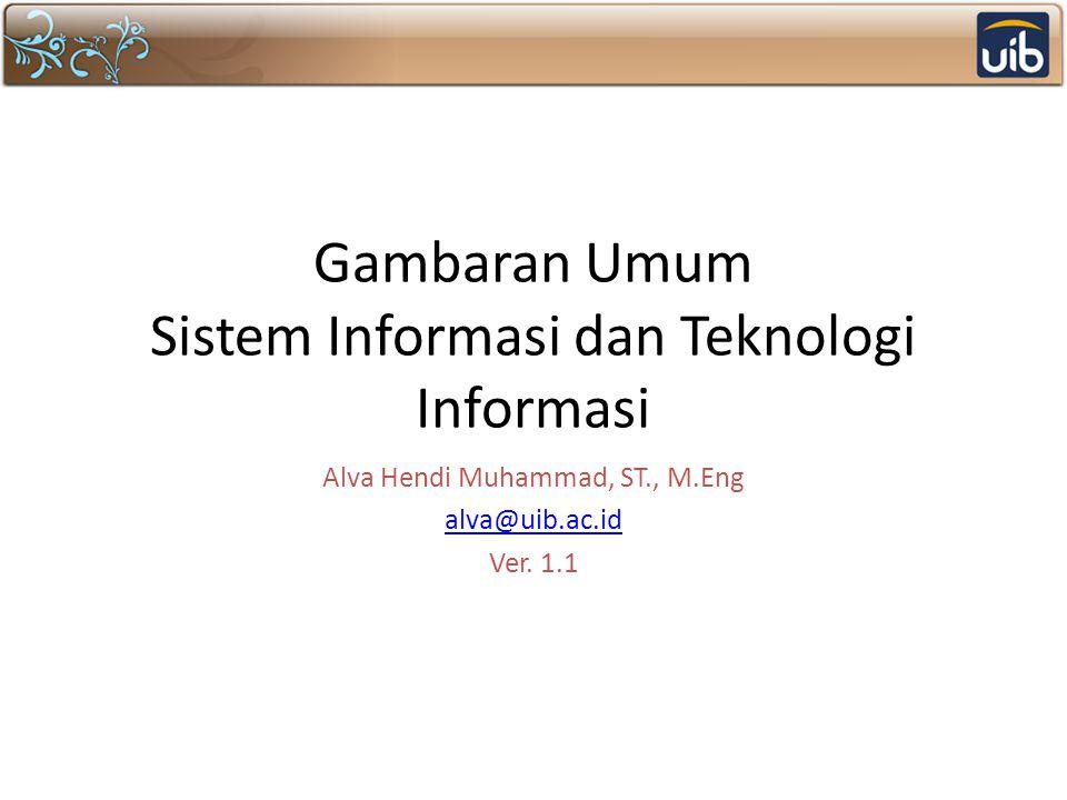 Gambaran Umum Sistem Informasi dan Teknologi Informasi Alva Hendi Muhammad, ST., M.Eng alva@uib.ac.id Ver. 1.1