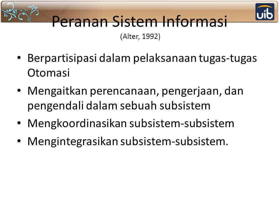 Peranan Sistem Informasi (Alter, 1992) Berpartisipasi dalam pelaksanaan tugas-tugas Otomasi Mengaitkan perencanaan, pengerjaan, dan pengendali dalam sebuah subsistem Mengkoordinasikan subsistem-subsistem Mengintegrasikan subsistem-subsistem.