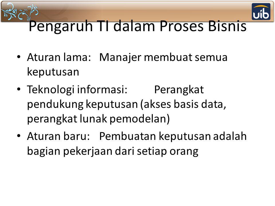 Pengaruh TI dalam Proses Bisnis Aturan lama:Manajer membuat semua keputusan Teknologi informasi:Perangkat pendukung keputusan (akses basis data, peran