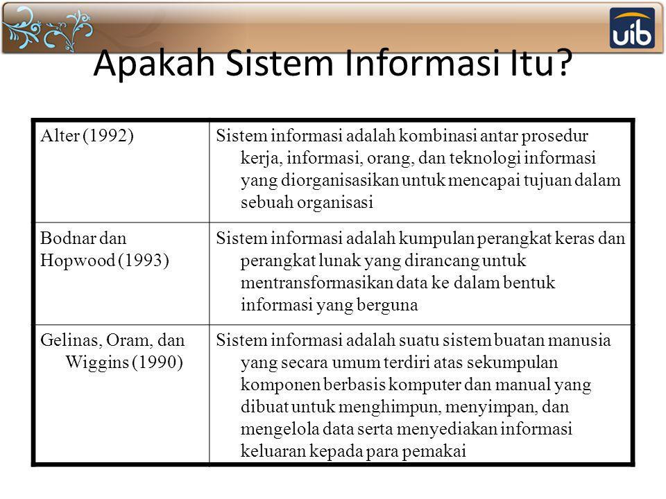 Apakah Sistem Informasi Itu? Alter (1992)Sistem informasi adalah kombinasi antar prosedur kerja, informasi, orang, dan teknologi informasi yang diorga