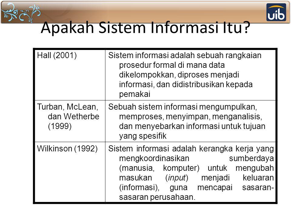 Apakah Sistem Informasi Itu? Hall (2001)Sistem informasi adalah sebuah rangkaian prosedur formal di mana data dikelompokkan, diproses menjadi informas
