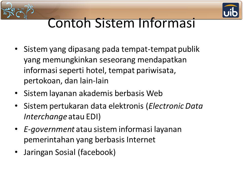 Contoh Sistem Informasi Sistem yang dipasang pada tempat-tempat publik yang memungkinkan seseorang mendapatkan informasi seperti hotel, tempat pariwis