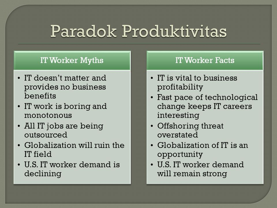 IT Worker Myths IT doesn't matter and provides no business benefits IT work is boring and monotonous All IT jobs are being outsourced Globalization wi