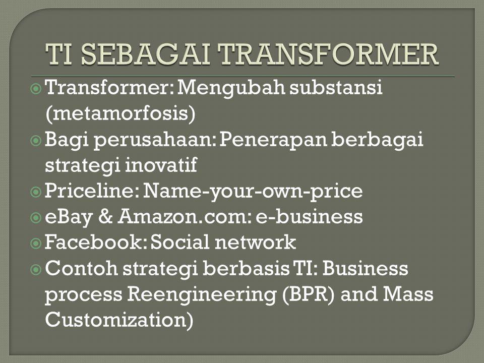  Transformer: Mengubah substansi (metamorfosis)  Bagi perusahaan: Penerapan berbagai strategi inovatif  Priceline: Name-your-own-price  eBay & Amazon.com: e-business  Facebook: Social network  Contoh strategi berbasis TI: Business process Reengineering (BPR) and Mass Customization)
