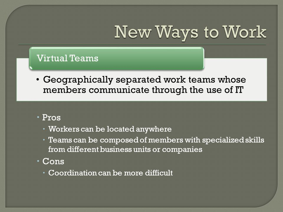  Pros  Workers can be located anywhere  Teams can be composed of members with specialized skills from different business units or companies  Cons  Coordination can be more difficult Geographically separated work teams whose members communicate through the use of IT Virtual Teams