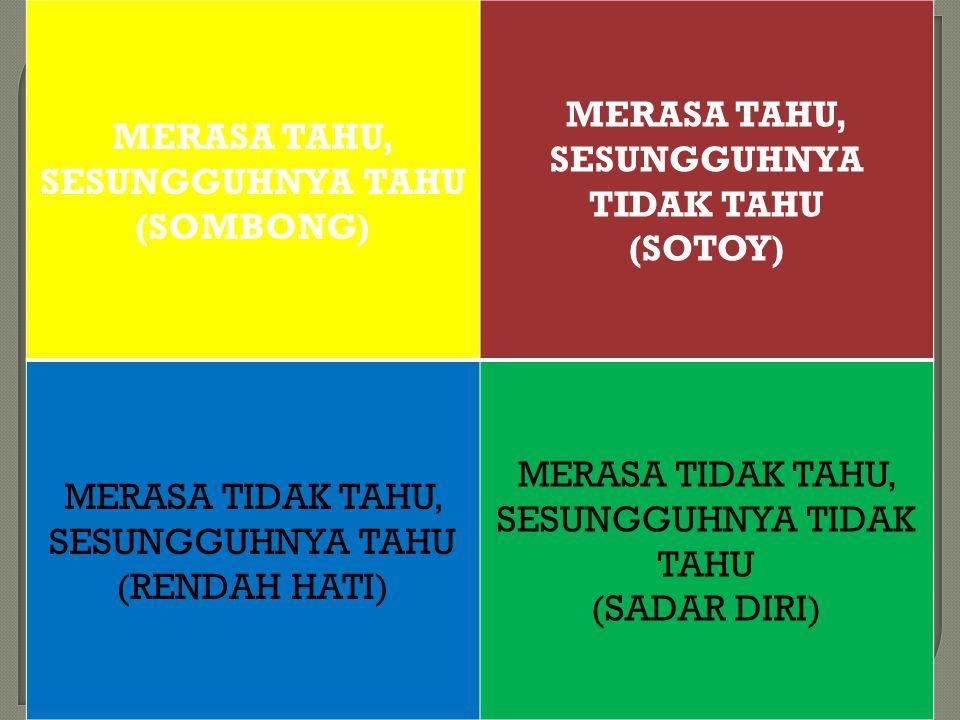 MERASA TAHU, SESUNGGUHNYA TAHU (SOMBONG) MERASA TAHU, SESUNGGUHNYA TIDAK TAHU (SOTOY) MERASA TIDAK TAHU, SESUNGGUHNYA TAHU (RENDAH HATI) MERASA TIDAK TAHU, SESUNGGUHNYA TIDAK TAHU (SADAR DIRI)