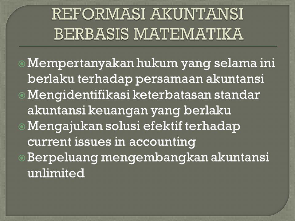  Mempertanyakan hukum yang selama ini berlaku terhadap persamaan akuntansi  Mengidentifikasi keterbatasan standar akuntansi keuangan yang berlaku  Mengajukan solusi efektif terhadap current issues in accounting  Berpeluang mengembangkan akuntansi unlimited