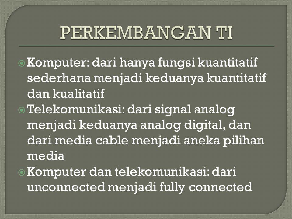  Komputer: dari hanya fungsi kuantitatif sederhana menjadi keduanya kuantitatif dan kualitatif  Telekomunikasi: dari signal analog menjadi keduanya analog digital, dan dari media cable menjadi aneka pilihan media  Komputer dan telekomunikasi: dari unconnected menjadi fully connected