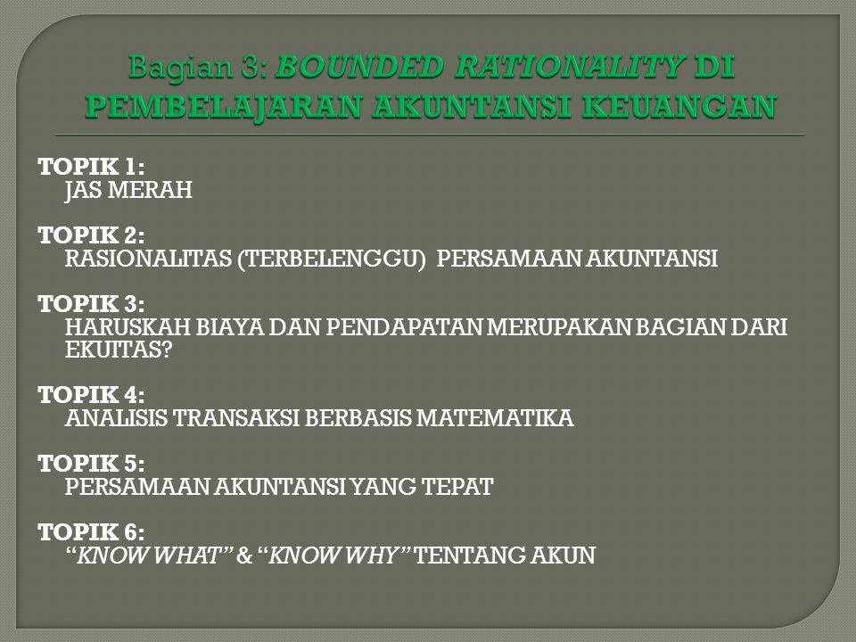 TOPIK 1: JAS MERAH TOPIK 2: RASIONALITAS (TERBELENGGU) PERSAMAAN AKUNTANSI TOPIK 3: HARUSKAH BIAYA DAN PENDAPATAN MERUPAKAN BAGIAN DARI EKUITAS.