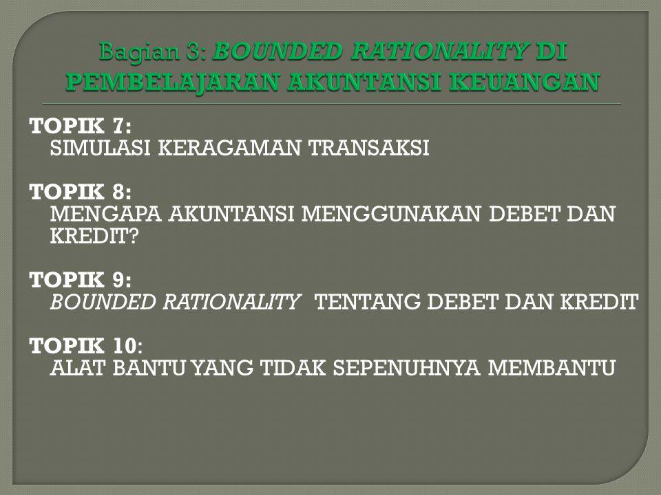 TOPIK 7: SIMULASI KERAGAMAN TRANSAKSI TOPIK 8: MENGAPA AKUNTANSI MENGGUNAKAN DEBET DAN KREDIT? TOPIK 9: BOUNDED RATIONALITY TENTANG DEBET DAN KREDIT T