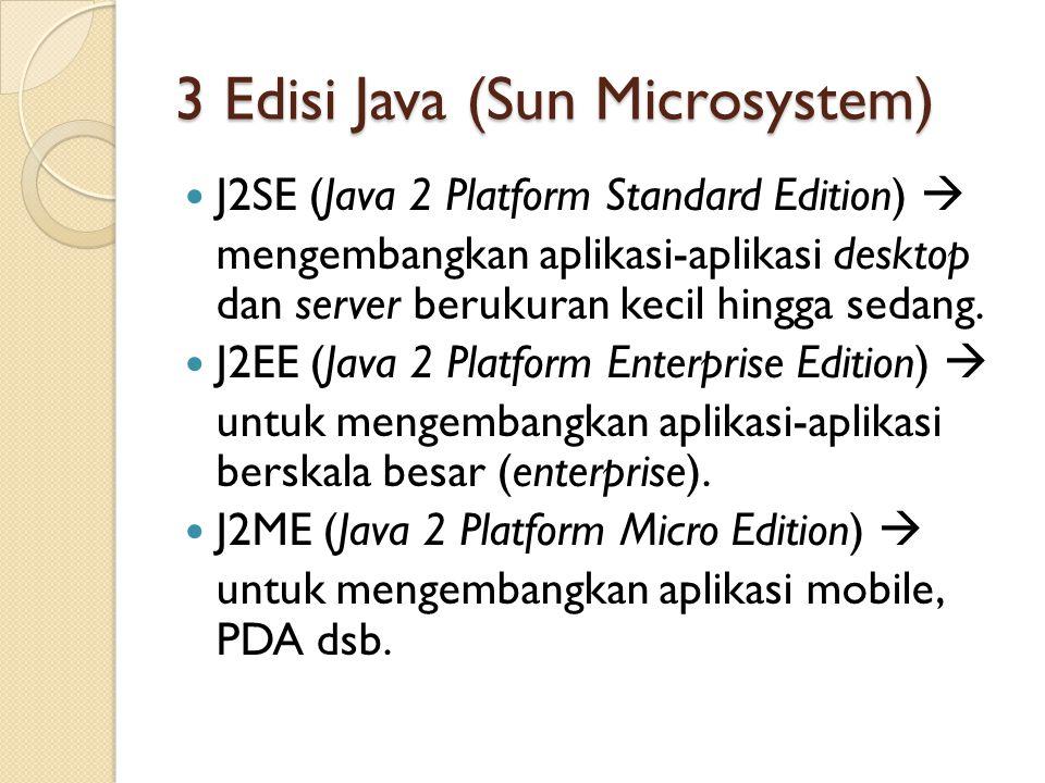 3 Edisi Java (Sun Microsystem) J2SE (Java 2 Platform Standard Edition)  mengembangkan aplikasi-aplikasi desktop dan server berukuran kecil hingga sedang.