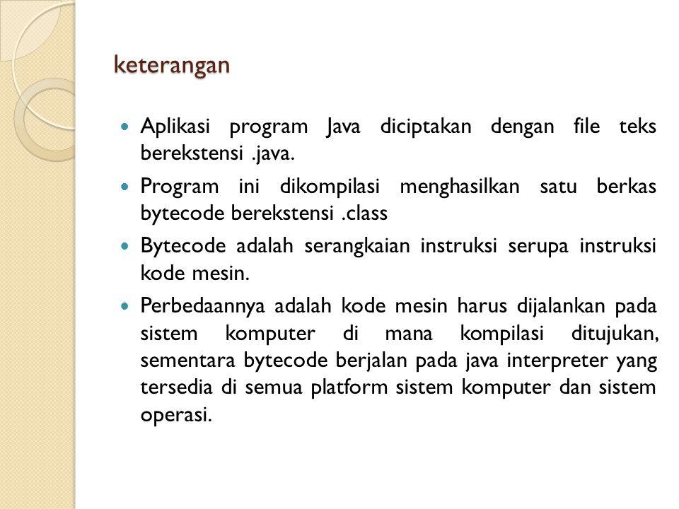 keterangan Aplikasi program Java diciptakan dengan file teks berekstensi.java.