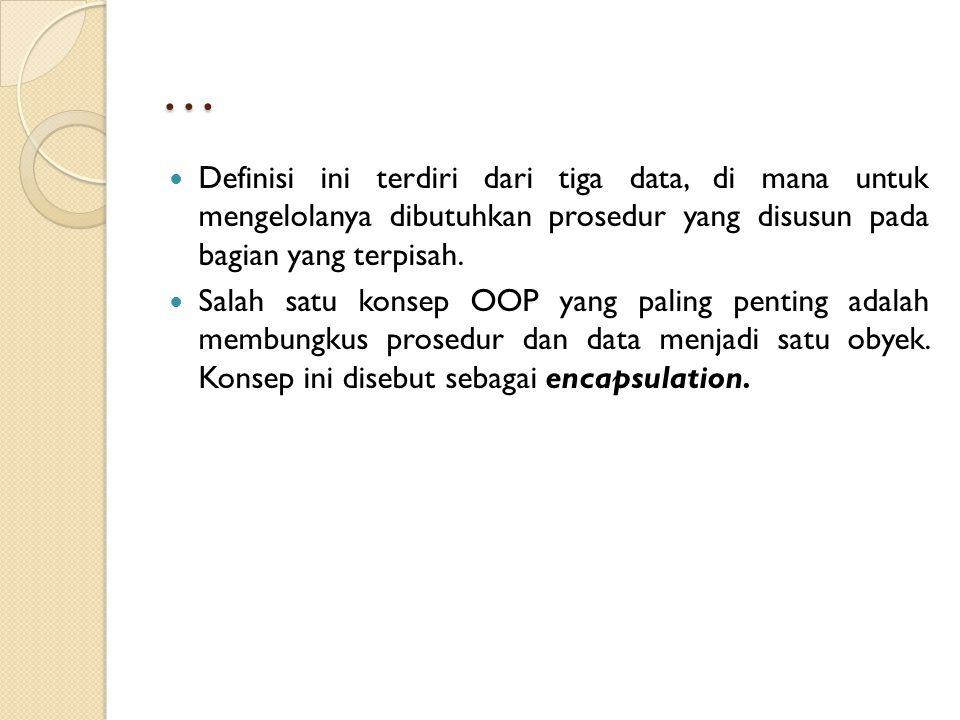 … Definisi ini terdiri dari tiga data, di mana untuk mengelolanya dibutuhkan prosedur yang disusun pada bagian yang terpisah.