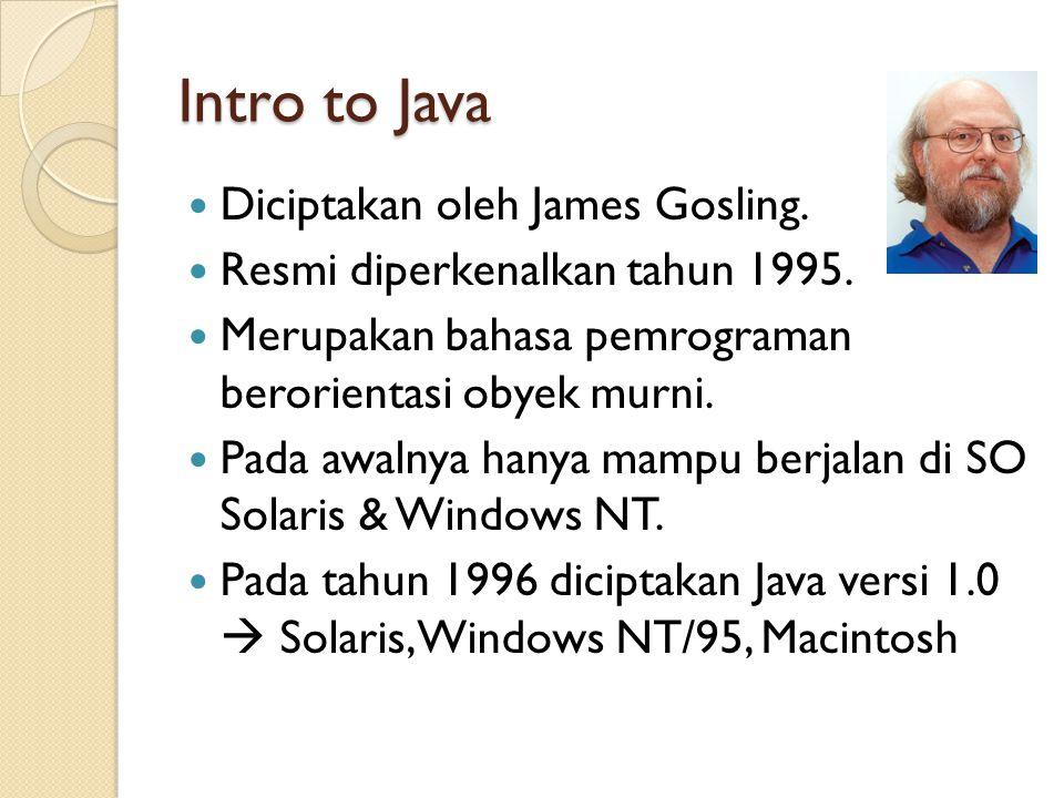 Intro to Java Diciptakan oleh James Gosling. Resmi diperkenalkan tahun 1995.