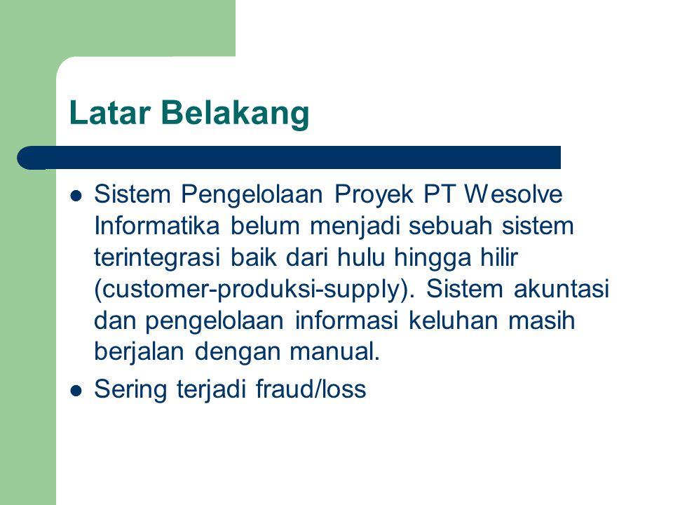 Latar Belakang Sistem Pengelolaan Proyek PT Wesolve Informatika belum menjadi sebuah sistem terintegrasi baik dari hulu hingga hilir (customer-produks