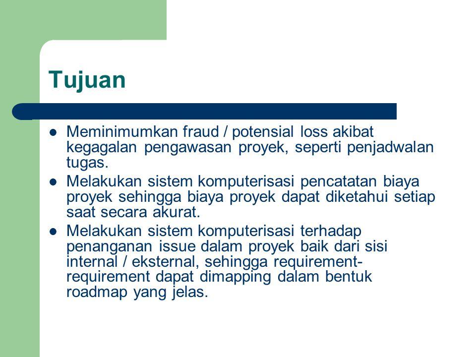 Tujuan Meminimumkan fraud / potensial loss akibat kegagalan pengawasan proyek, seperti penjadwalan tugas. Melakukan sistem komputerisasi pencatatan bi
