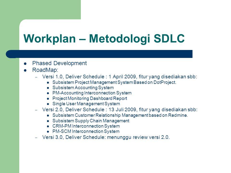 Workplan – Metodologi SDLC Phased Development RoadMap: – Versi 1.0, Deliver Schedule : 1 April 2009, fitur yang disediakan sbb: Subsistem Project Management System Based on DotProject.