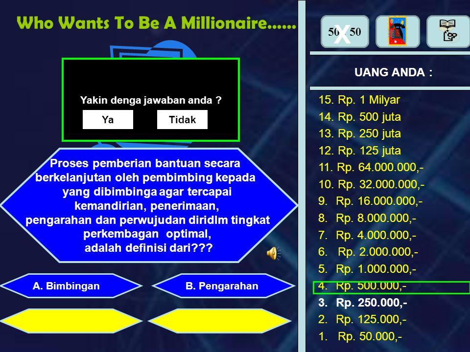 50 : 50 Who Wants To Be A Millionaire… UANG ANDA : Perhiasan apa yang dipasang di tangan adalah : B. PengarahanA. Bimbingan X 15. Rp. 1 Milyar 14. Rp.