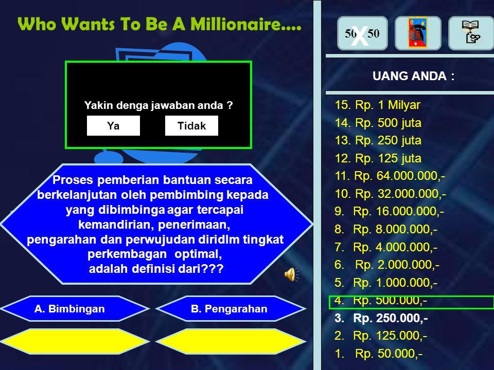 Who Wants To Be A Millionaire…… UANG ANDA : Perhiasan apa yang dipasang di tangan adalah : B. PengarahanA. Bimbingan Yakin denga jawaban anda ? YaTida