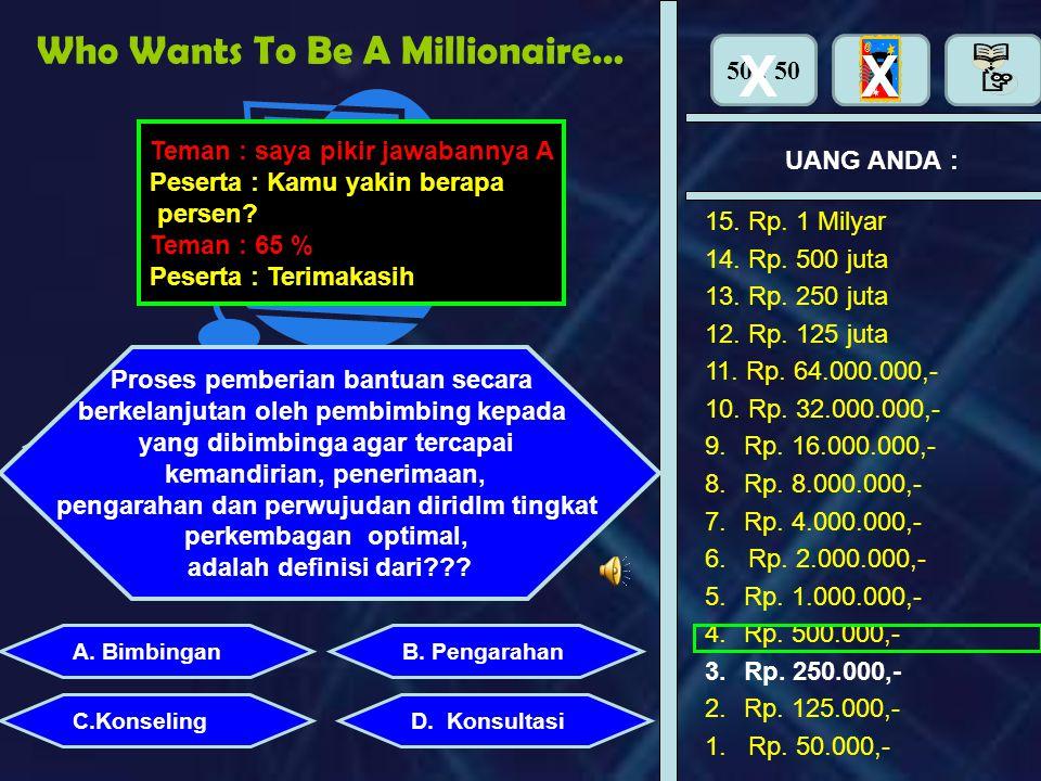 Who Wants To Be A Millionaire…. UANG ANDA : Perhiasan apa yang dipasang di tangan adalah : B. PengarahanA. Bimbingan X Yakin denga jawaban anda ? YaTi