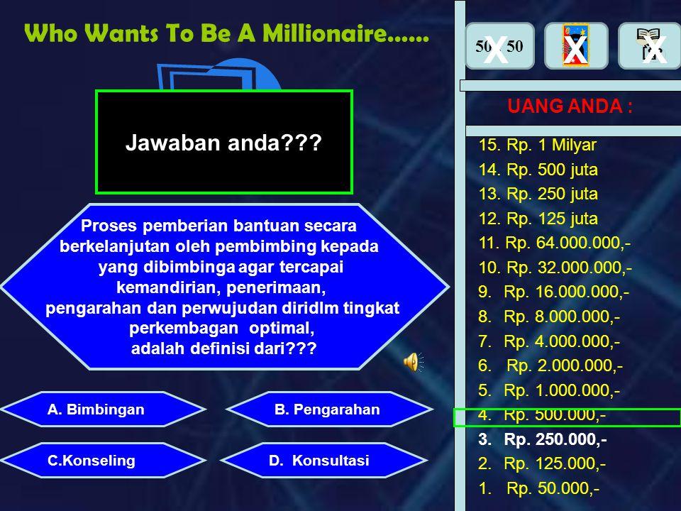 Who Wants To Be A Millionaire…… UANG ANDA : A. BimbinganB. Pengarahan C.KonselingD. Konsultasi 15. Rp. 1 Milyar 14. Rp. 500 juta 13. Rp. 250 juta 12.