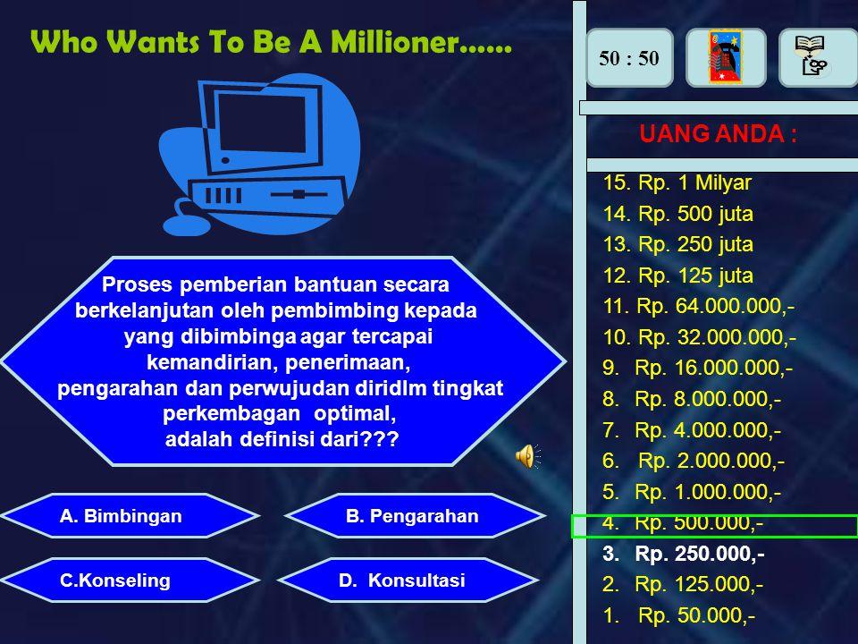 50 : 50 Who Wants To Be A Millionaire… UANG ANDA : Perhiasan apa yang dipasang di tangan adalah : B.