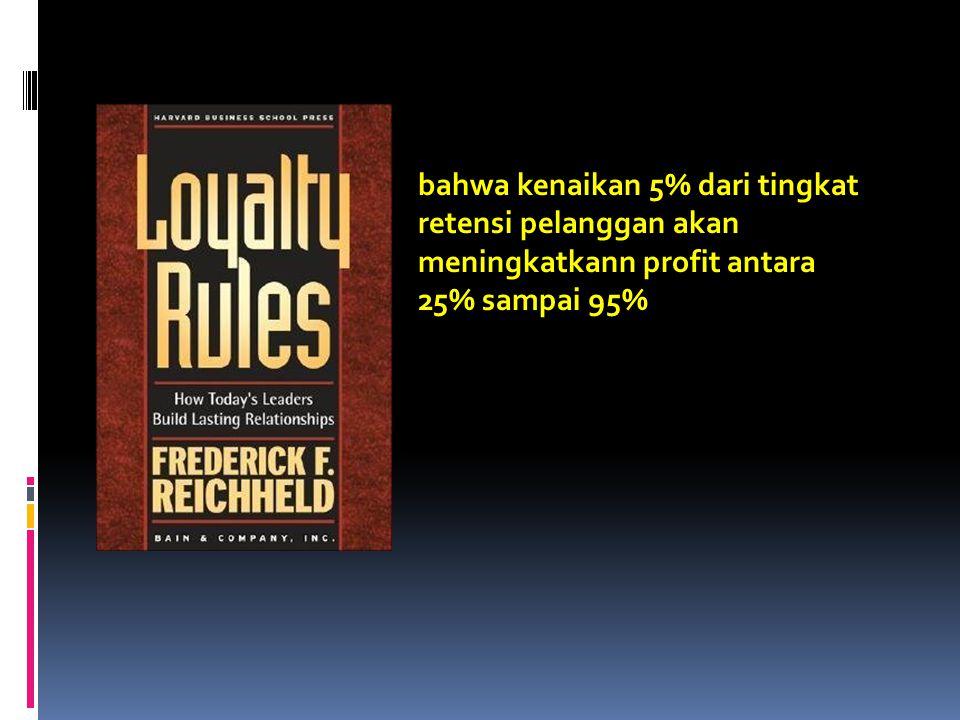 bahwa kenaikan 5% dari tingkat retensi pelanggan akan meningkatkann profit antara 25% sampai 95%