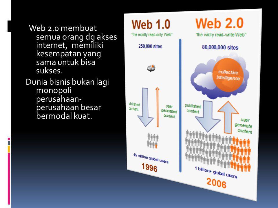 Web 2.0 membuat semua orang dg akses internet, memiliki kesempatan yang sama untuk bisa sukses. Dunia bisnis bukan lagi monopoli perusahaan- perusahaa