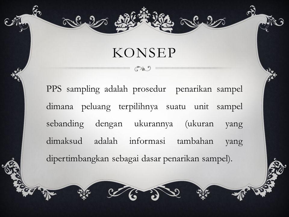 KONSEP PPS sampling adalah prosedur penarikan sampel dimana peluang terpilihnya suatu unit sampel sebanding dengan ukurannya (ukuran yang dimaksud adalah informasi tambahan yang dipertimbangkan sebagai dasar penarikan sampel).