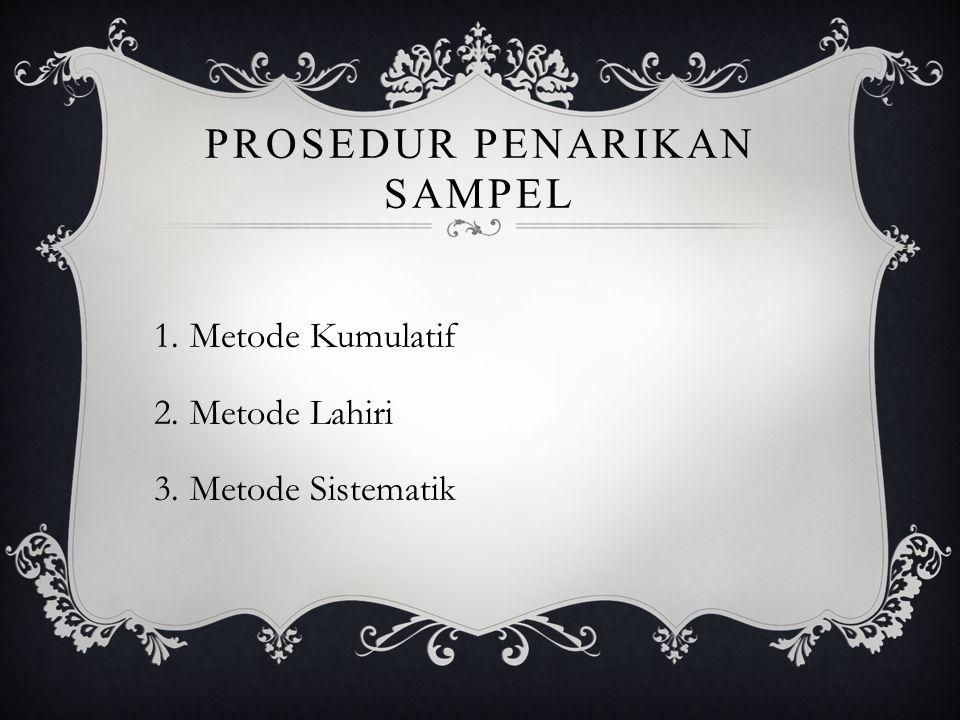 PROSEDUR PENARIKAN SAMPEL 1.Metode Kumulatif 2.Metode Lahiri 3.Metode Sistematik