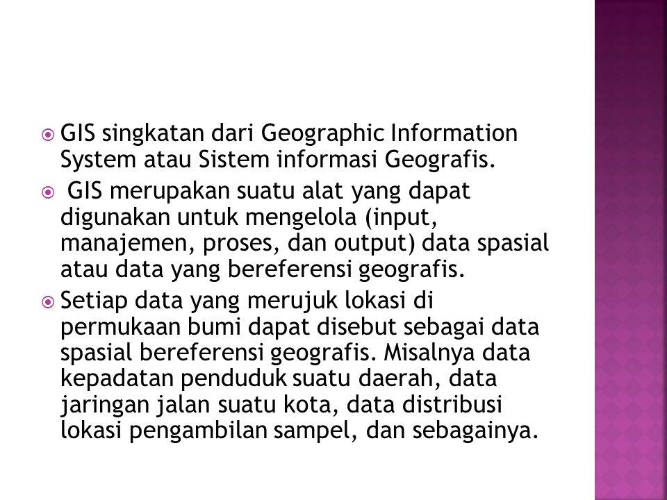  GIS singkatan dari Geographic Information System atau Sistem informasi Geografis.  GIS merupakan suatu alat yang dapat digunakan untuk mengelola (i