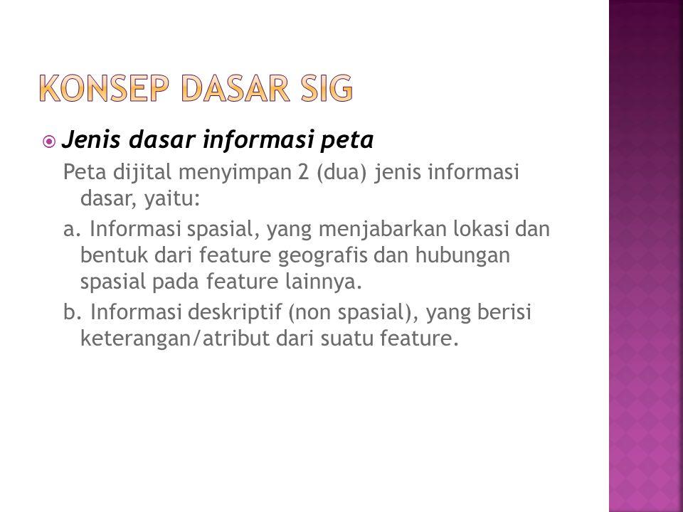  Jenis dasar informasi peta Peta dijital menyimpan 2 (dua) jenis informasi dasar, yaitu: a. Informasi spasial, yang menjabarkan lokasi dan bentuk dar