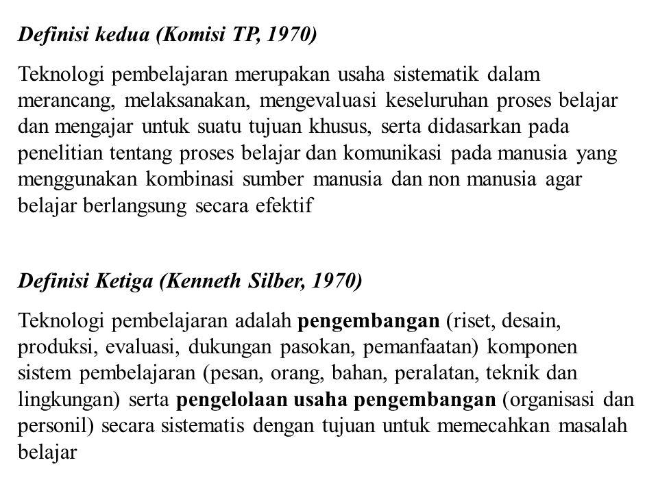 Definisi: Teknologi Pendidikan Definisi Pertama (Ely, 1963) Komunikasi audio visual adalah cabang dari teori dan praktek pendidikan terutama berkepent