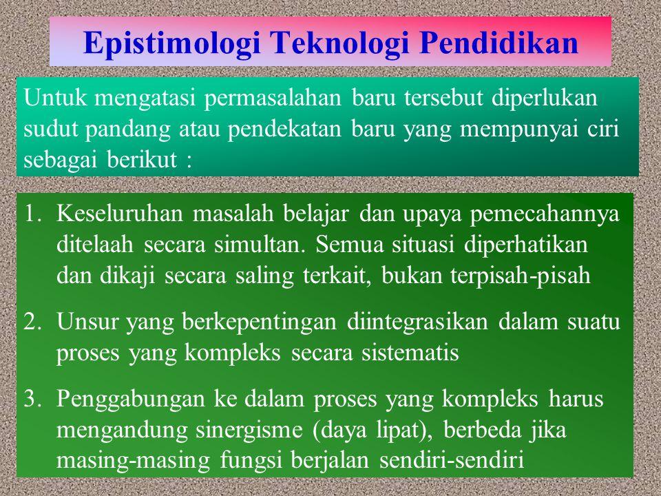 Kesimpulan 1.Teknologi Pendidikan merupakan proses yang kompleks dan terpadu yang melibatkan orang, prosedur, ide, peralatan, dan organisasi untuk menganalisis masalah, mencari jalan pemecahan, melaksanakan, mengevaluasi dan mengelola pemecahan masalah yang menyangkut semua aspek belajar manusia 2.Teknologi dalam pendidikan adalah penerapan teknologi terhadap proses bekerjanya lembaga yang bergerak dalam usaha pendidikan 3.Teknologi instruksional (teknologi pembelajaran) merupakan bagian dari teknologi pendidikan yaitu proses yang kompleks dan terpadu yang melibatkan orang, prosedur, ide, peralatan, dan organisasi untuk menganalisis masalah, mencari cara pemecahan, melaksanakan, mengevaluasi, dan mengelola pemecahan masalah dalam situasi di mana kegiatan belajar itu mempunyai tujuan dan terkontrol