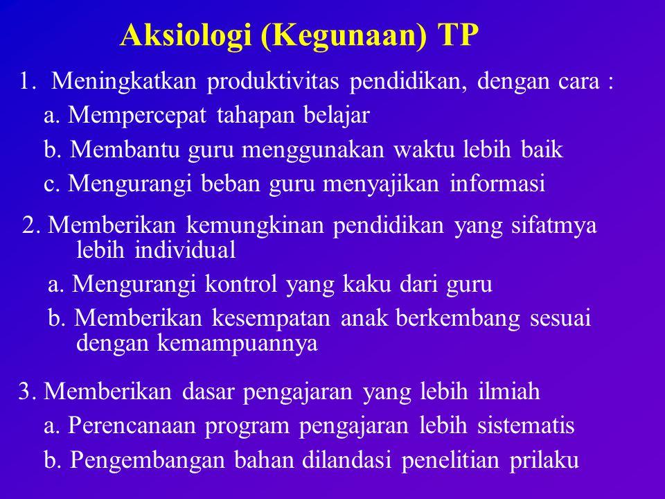Aksiologi (Kegunaan) TP 1.Meningkatkan produktivitas pendidikan, dengan cara : a.