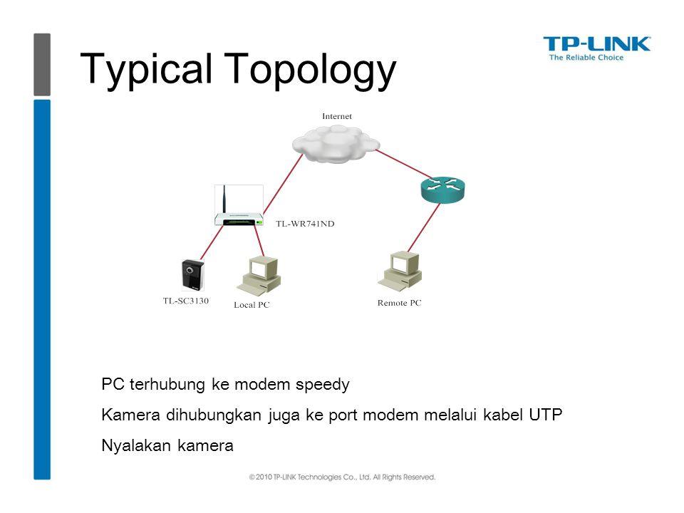 Typical Topology PC terhubung ke modem speedy Kamera dihubungkan juga ke port modem melalui kabel UTP Nyalakan kamera