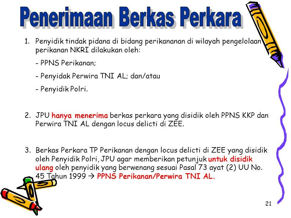 21 1.Penyidik tindak pidana di bidang perikananan di wilayah pengelolaan perikanan NKRI dilakukan oleh: - PPNS Perikanan; - Penyidak Perwira TNI AL; d