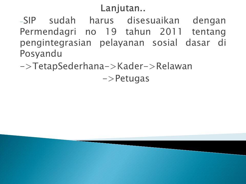 Lanjutan.. - SIP sudah harus disesuaikan dengan Permendagri no 19 tahun 2011 tentang pengintegrasian pelayanan sosial dasar di Posyandu ->TetapSederha
