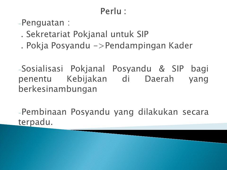 Perlu : - Penguatan :. Sekretariat Pokjanal untuk SIP. Pokja Posyandu ->Pendampingan Kader - Sosialisasi Pokjanal Posyandu & SIP bagi penentu Kebijaka