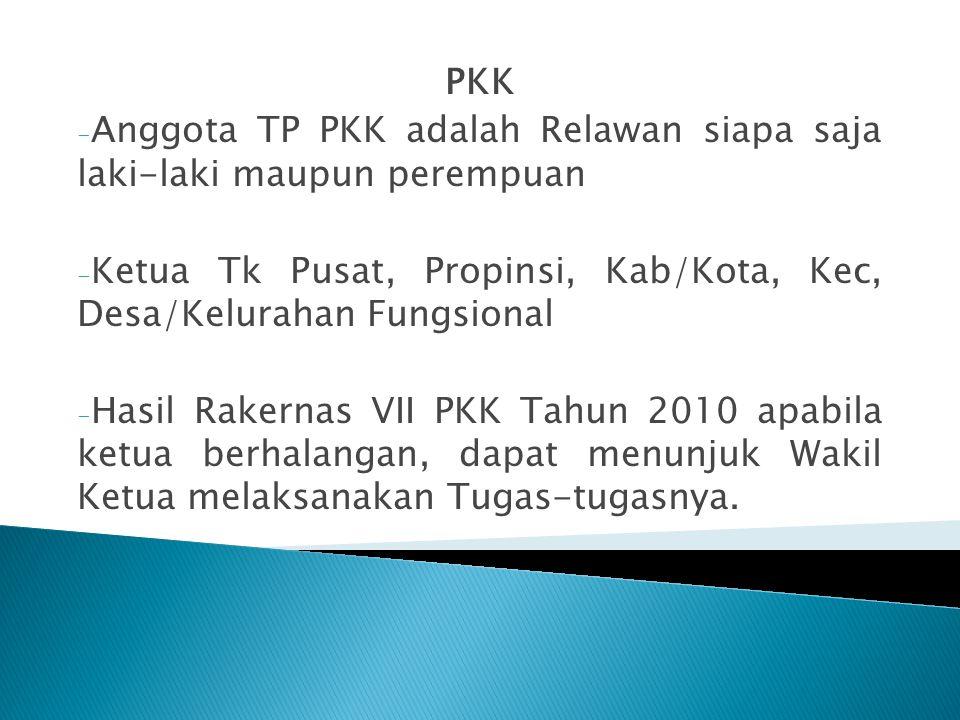 PKK - Anggota TP PKK adalah Relawan siapa saja laki-laki maupun perempuan - Ketua Tk Pusat, Propinsi, Kab/Kota, Kec, Desa/Kelurahan Fungsional - Hasil