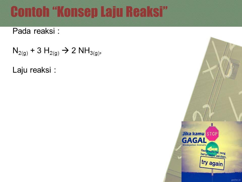"""Contoh """"Konsep Laju Reaksi"""" Pada reaksi : N 2(g) + 3 H 2(g)  2 NH 3(g), Laju reaksi :"""