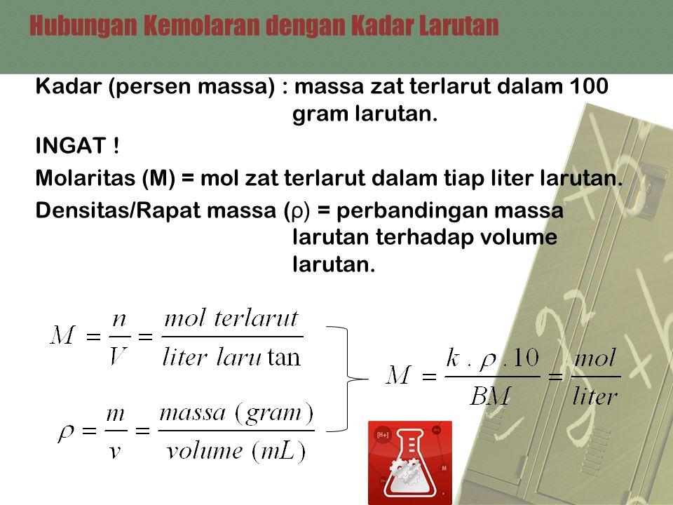 Hubungan Kemolaran dengan Kadar Larutan Kadar (persen massa) : massa zat terlarut dalam 100 gram larutan. INGAT ! Molaritas (M) = mol zat terlarut dal