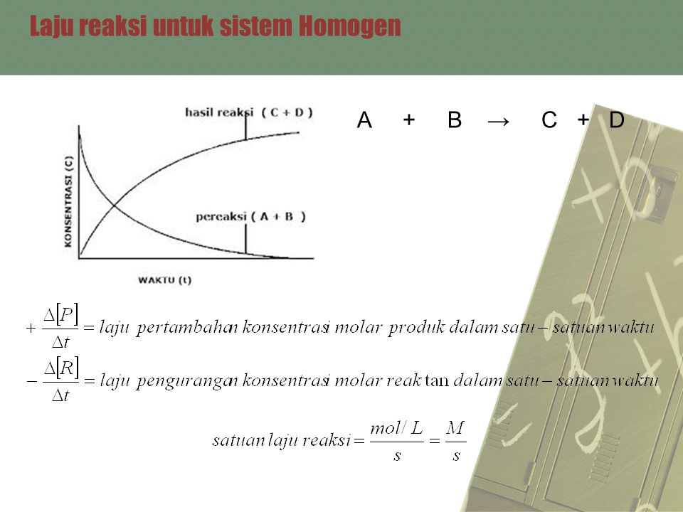 Laju reaksi untuk sistem Homogen A + B → C + D
