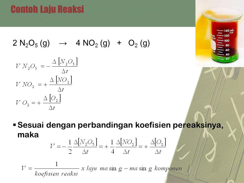 Contoh Laju Reaksi 2 N 2 O 5 (g) → 4 NO 2 (g) + O 2 (g)  Sesuai dengan perbandingan koefisien pereaksinya, maka