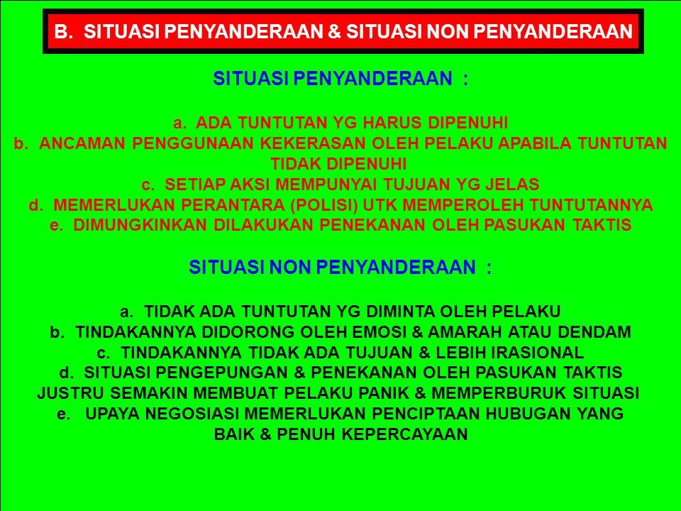 PROSEDUR OPERASI PEMBEBASAN SANDERA YG BERLAKU SECARA KONVENSIONAL ADLH SBB : 1.PENGEPUNGAN, ISOLASI & UPAYA NEGOSIASI 2.PERINTAH UNTUK MENYERAH 3.PEN